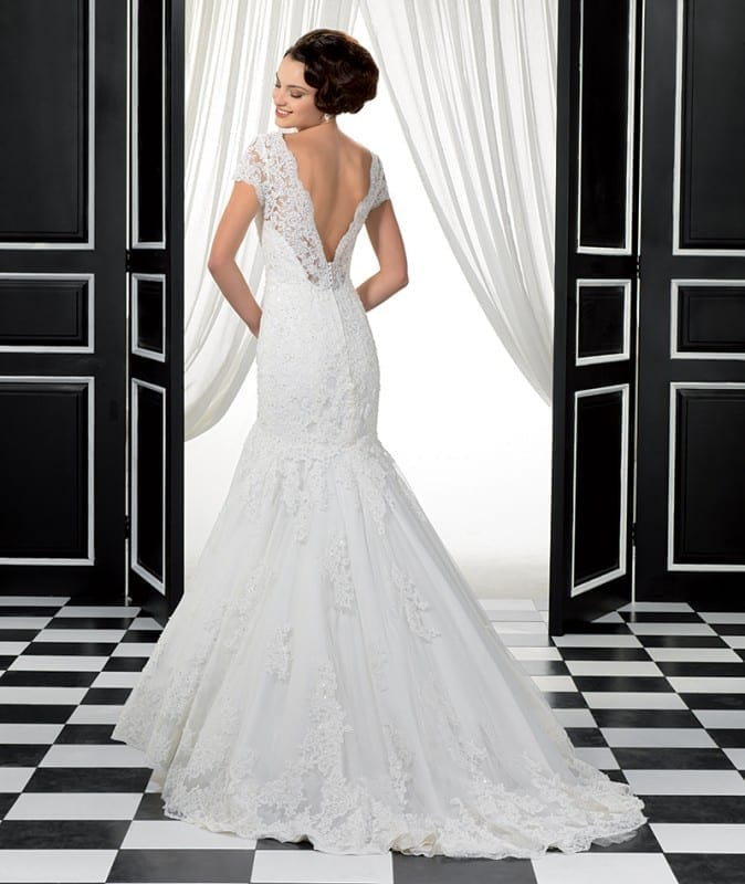 ADK# Style 77950. Corded lace, short sleeves and a V-back.
