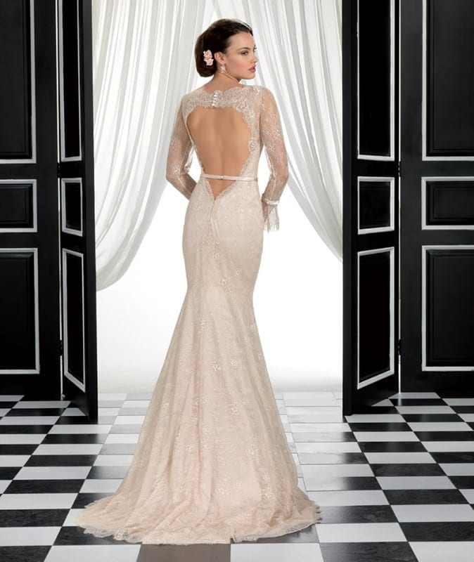 ADK# 77959, Chantilly lace, and a delicate sation belt that goes over the open back for a sexy and vintage look.