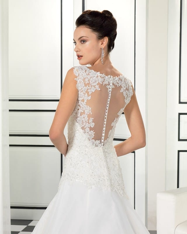 EddyK #EK971, an Illusion back with beaded corded lace