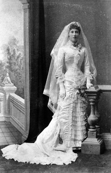 Margaret Murray-Prior, in her wedding dress, 1882