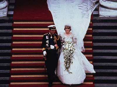 Princess Diana in her famous taffeta wedding dress