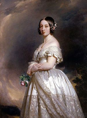Portrait of Queen Victoria in her lace trimmed wedding dress. (by Winterhalter, 1942)