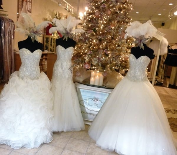 Sparkle, sparkle, sparkle: Eddy K gowns inside a beautifully decorated store